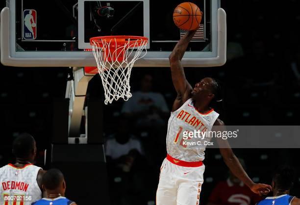 Taurean Prince of the Atlanta Hawks dunks against the Dallas Mavericks at McCamish Pavilion on October 12 2017 in Atlanta Georgia NOTE TO USER User...