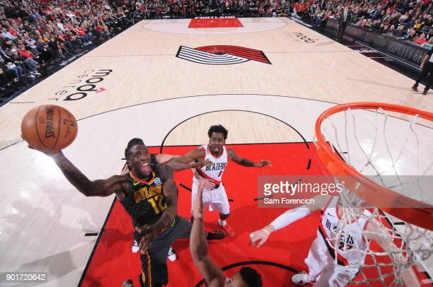 Taurean Prince of the Atlanta Hawks dunks against the Portland Trail Blazers on January 5 2018 at the Moda Center in Portland Oregon NOTE TO USER...