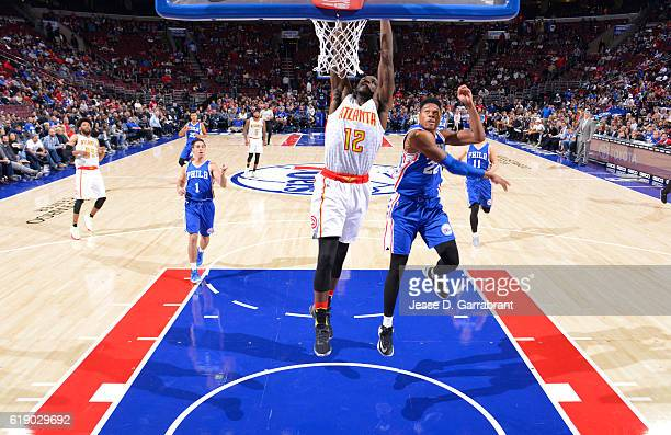 Taurean Prince of the Atlanta Hawks dunks the ball against the Philadelphia 76ers during a game at the Wells Fargo Center on October 29 2016 in...
