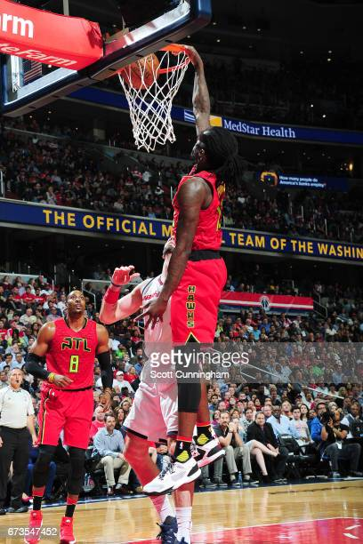 Taurean Prince of the Atlanta Hawks dunks the ball during the game against the Washington Wizards in Game Five of the Eastern Conference...