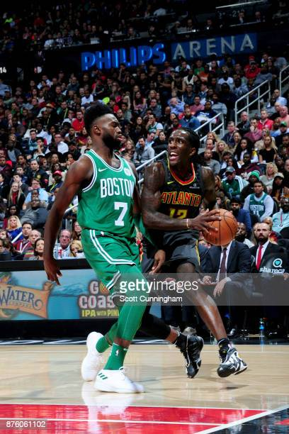Taurean Prince of the Atlanta Hawks goes to the basket against the Boston Celtics on November 18 2017 at Philips Arena in Atlanta Georgia NOTE TO...