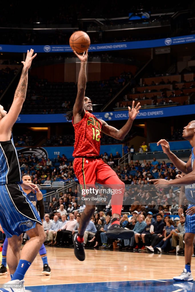 Taurean Prince #12 of the Atlanta Hawks goes to the basket against the Orlando Magic on February 8, 2018 at the Amway Center in Orlando, Florida.