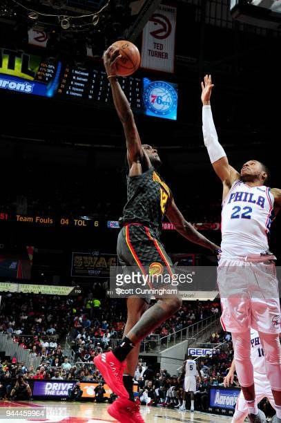 Taurean Prince of the Atlanta Hawks goes to the basket against the Philadelphia 76ers on April 10 2018 at Philips Arena in Atlanta Georgia NOTE TO...