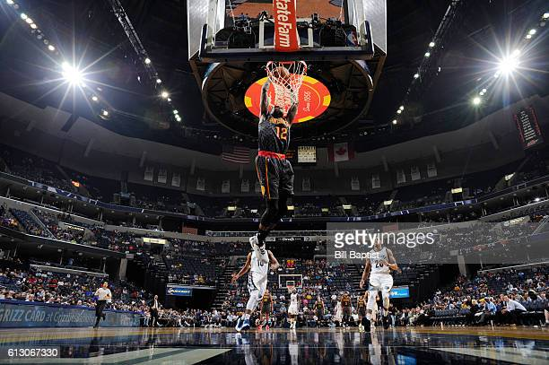 Taurean Prince of the Atlanta Hawks goes up for a dunk against the Memphis Grizzlies during a preseason game on October 6 2016 at the Toyota Center...