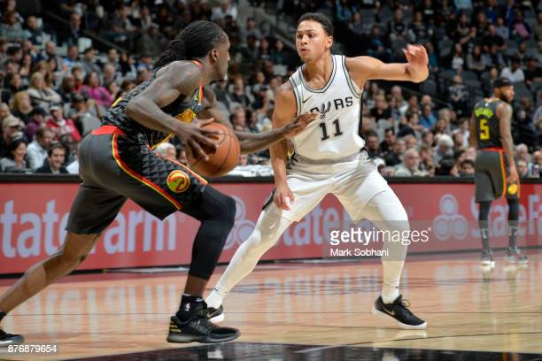 Taurean Prince of the Atlanta Hawks handles the ball against Bryn Forbes of the San Antonio Spurs on November 20 2017 at the ATT Center in San...