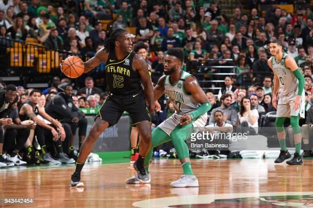 Taurean Prince of the Atlanta Hawks handles the ball against Jaylen Brown of the Boston Celtics on April 8 2018 at the TD Garden in Boston...