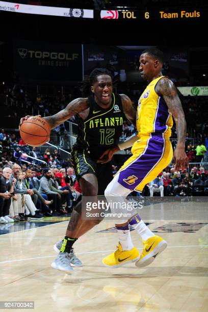 Taurean Prince of the Atlanta Hawks handles the ball against the Los Angeles Lakers on February 26 2018 at Philips Arena in Atlanta Georgia NOTE TO...