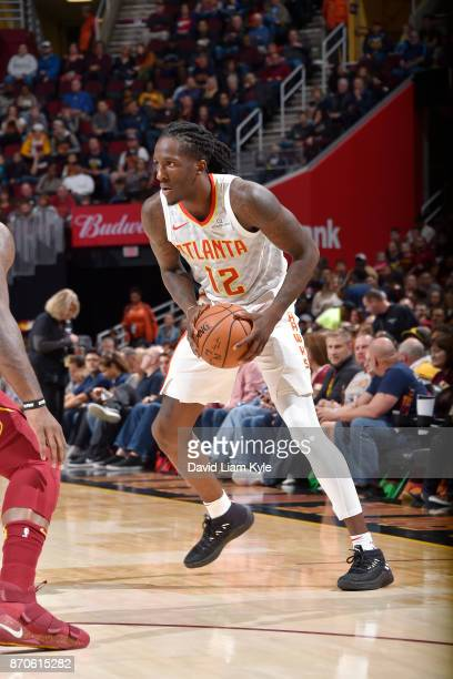 Taurean Prince of the Atlanta Hawks handles the ball against the Cleveland Cavaliers on November 5 2017 at Quicken Loans Arena in Cleveland Ohio NOTE...