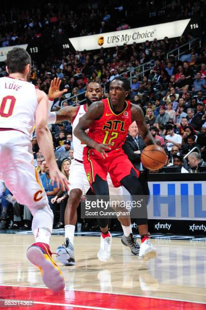 Taurean Prince of the Atlanta Hawks handles the ball against the Cleveland Cavaliers on November 30 2017 at Philips Arena in Atlanta Georgia NOTE TO...