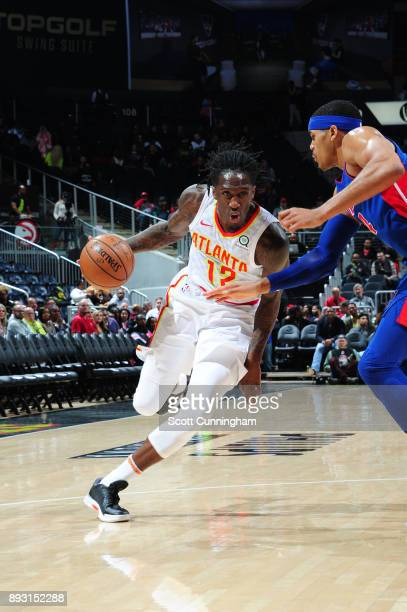 Taurean Prince of the Atlanta Hawks handles the ball against the Detroit Pistons on December 14 2017 at Philips Arena in Atlanta Georgia NOTE TO USER...