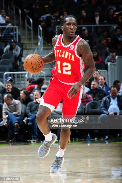Taurean Prince of the Atlanta Hawks handles the ball against the Indiana Pacers on February 28 2018 at Philips Arena in Atlanta Georgia NOTE TO USER...