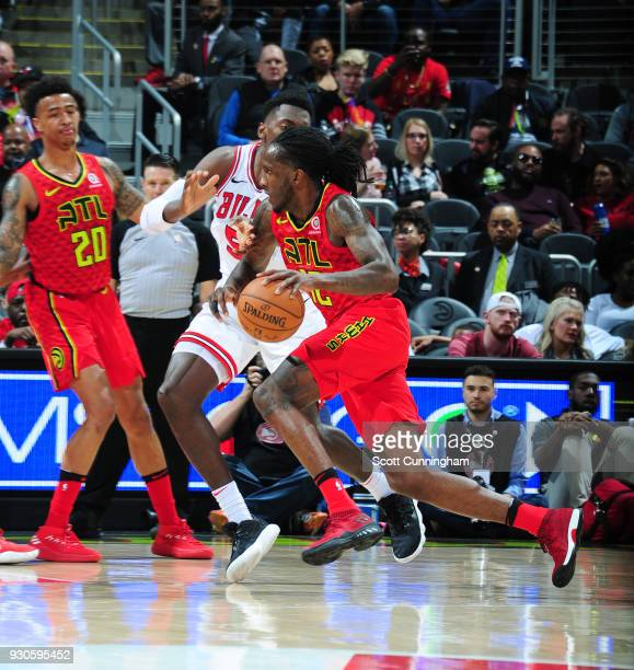 Taurean Prince of the Atlanta Hawks handles the ball against the Chicago Bulls on March 11 2018 at Philips Arena in Atlanta Georgia NOTE TO USER User...
