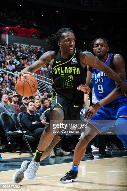 Taurean Prince of the Atlanta Hawks handles the ball against the Oklahoma City Thunder on March 13 2018 at Philips Arena in Atlanta Georgia NOTE TO...