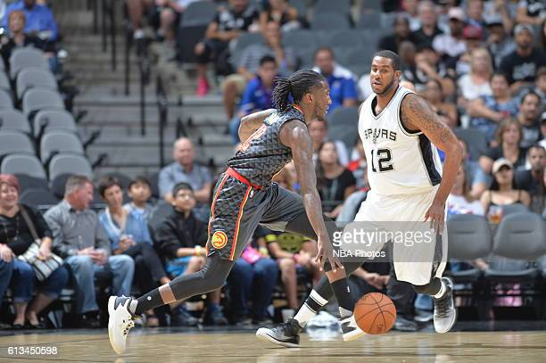 Taurean Prince of the Atlanta Hawks handles the ball against the San Antonio Spurs on October 8 2016 at the ATT Center in San Antonio Texas NOTE TO...