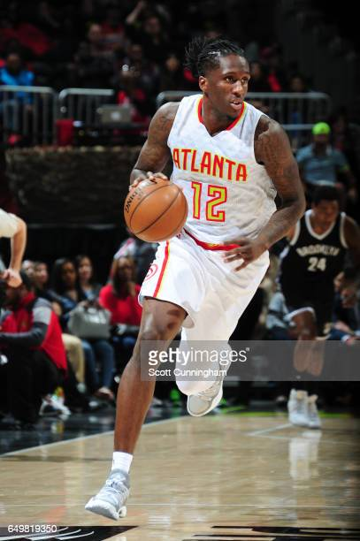 Taurean Prince of the Atlanta Hawks handles the ball during a game against the Brooklyn Nets on March 8 2017 at Philips Arena in Atlanta Georgia NOTE...