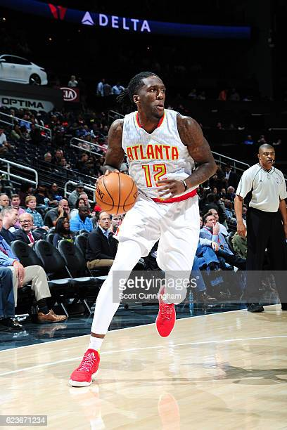 Taurean Prince of the Atlanta Hawks handles the ball during the game against the Milwaukee Bucks on November 16 2016 at Philips Arena in Atlanta...