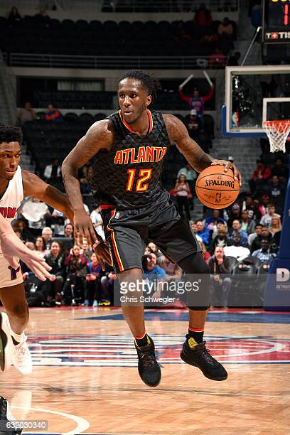 Taurean Prince of the Atlanta Hawks handles the ball during the game against the Detroit Pistons on January 18 2017 at The Palace of Auburn Hills in...