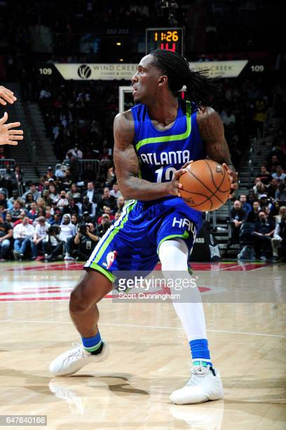 Taurean Prince of the Atlanta Hawks handles the ball during the game against the Cleveland Cavaliers on March 3 2017 at Philips Arena in Atlanta...