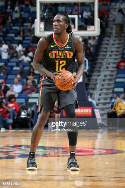 Taurean Prince of the Atlanta Hawks handles the ball during the game against the New Orleans Pelicans on November 13 2017 at Smoothie King Center in...