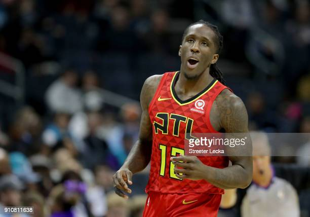 Taurean Prince of the Atlanta Hawks reacts after a play against the Charlotte Hornets during their game at Spectrum Center on January 26 2018 in...