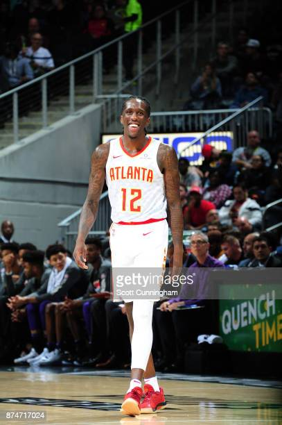 Taurean Prince of the Atlanta Hawks reacts during the game against the Sacramento Kings on November 15 2017 at Philips Arena in Atlanta Georgia NOTE...