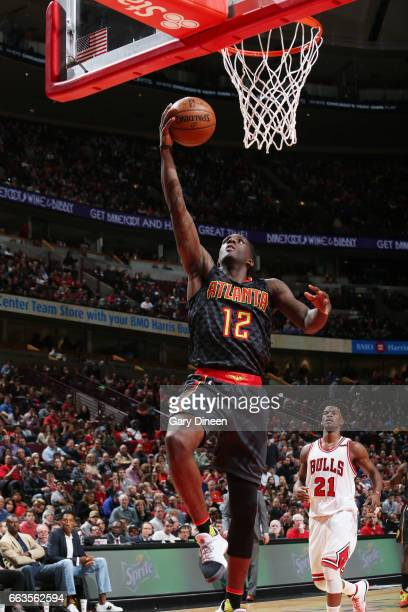 Taurean Prince of the Atlanta Hawks shoots a lay up against the Chicago Bulls during the game on April 1 2017 at the United Center in Chicago...