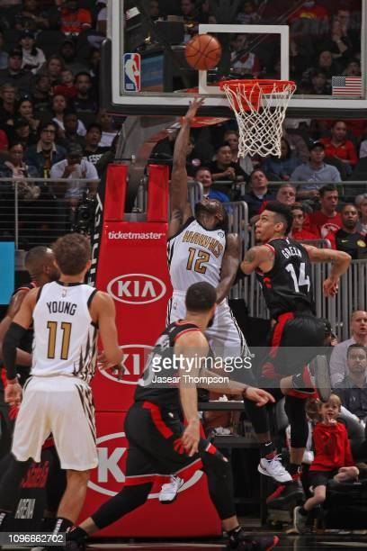 Taurean Prince of the Atlanta Hawks shoots a reverse layup against the Toronto Raptors on February 7 2019 at State Farm Arena in Atlanta Georgia NOTE...