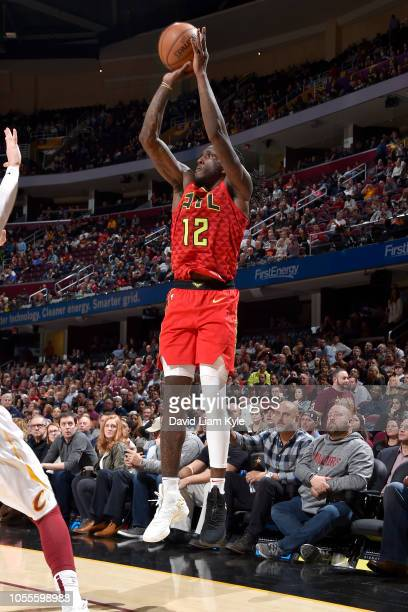 Taurean Prince of the Atlanta Hawks shoots the ball against the Cleveland Cavaliers on October 30 2018 at Quicken Loans Arena in Cleveland Ohio NOTE...