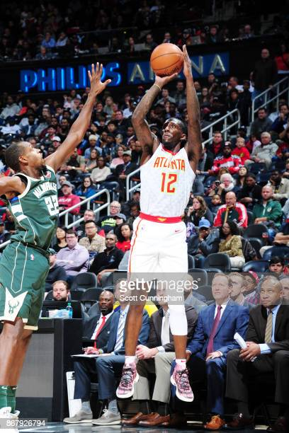 Taurean Prince of the Atlanta Hawks shoots the ball against the Milwaukee Bucks on October 29 2017 at Philips Arena in Atlanta Georgia NOTE TO USER...