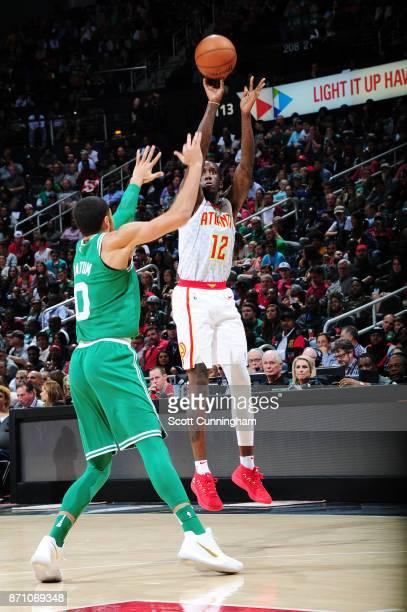 Taurean Prince of the Atlanta Hawks shoots the ball against the Boston Celtics on November 6 2017 at Philips Arena in Atlanta Georgia NOTE TO USER...