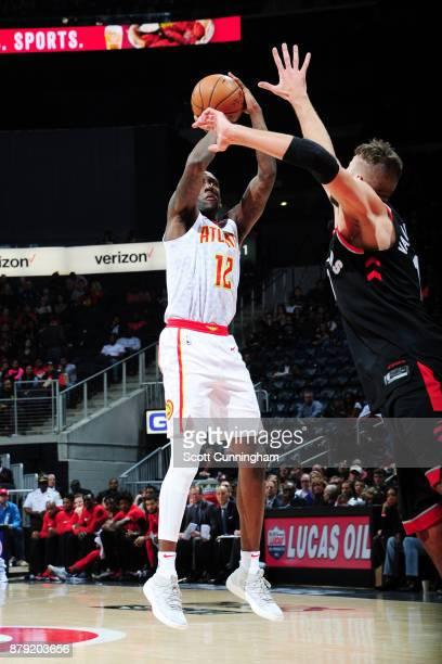 Taurean Prince of the Atlanta Hawks shoots the ball against the Toronto Raptors on November 25 2017 at Philips Arena in Atlanta Georgia NOTE TO USER...