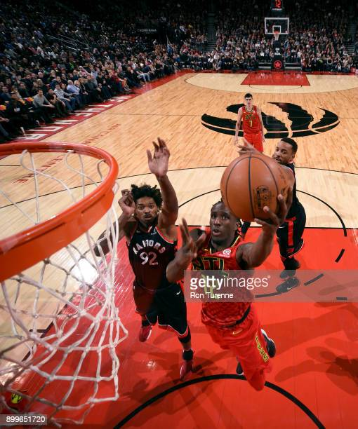 Taurean Prince of the Atlanta Hawks shoots the ball against the Toronto Raptors on December 29 2017 at the Air Canada Centre in Toronto Ontario...