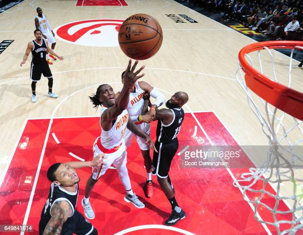Taurean Prince of the Atlanta Hawks shoots the ball during a game against the Brooklyn Nets on March 8 2017 at Philips Arena in Atlanta Georgia NOTE...