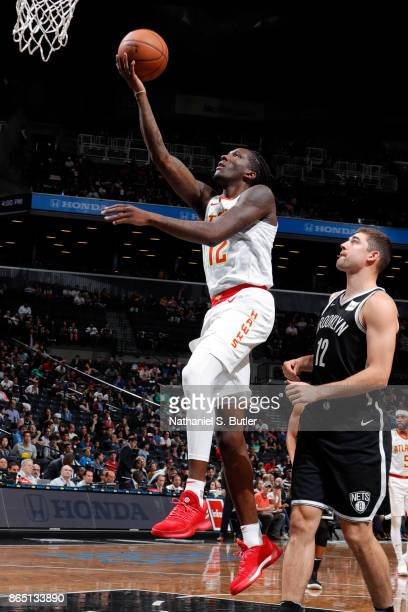 Taurean Prince of the Atlanta Hawks shoots the ball during the game against the Brooklyn Nets on October 22 2017 at Barclays Center in Brooklyn New...