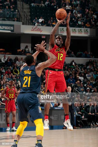 Taurean Prince of the Atlanta Hawks shoots the ball during the game against the Indiana Pacers on February 23 2018 at Bankers Life Fieldhouse in...