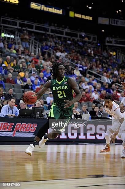 Taurean Prince of the Baylor Bears controls the ball ball against the Texas Longhorns during the quarterfinals of the Big 12 Basketball Tournament at...