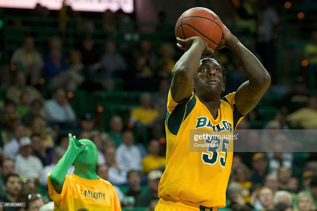 Taurean Prince #35 of the Baylor Bears shoots a three-pointer against the TCU Horned Frogs on January 11, 2014 at the Ferrell Center in Waco, Texas.