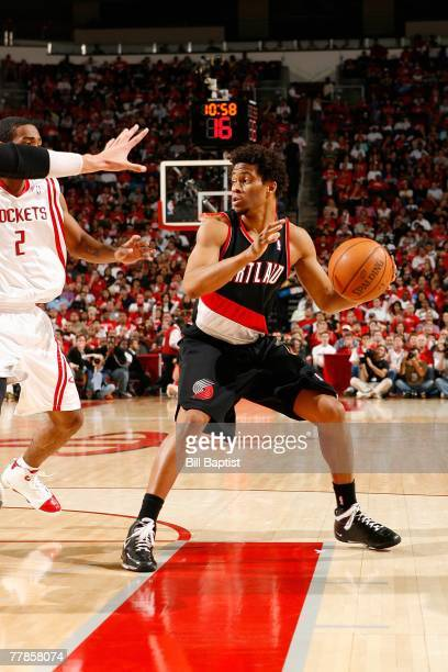 Taureen Green of the Portland Trail Blazers moves the ball during the game against the Houston Rockets at the Toyota Center on November 3 2007 in...