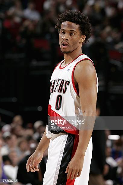 Taureen Green of the Portland Trail Blazers stands on the court during the game against the Sacramento Kings at the Rose Garden on October 19 2007 in...