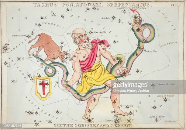 Taurus Poniatowski Serpentarius Scutum Sobiesky and Serpens Card Number 12 from Uranias Mirror or A View of the Heavens one of a set of 32...