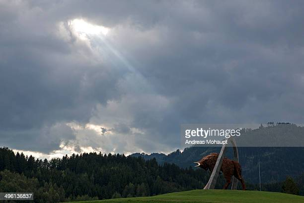 taurus sculpture illuminated by the sun - spielberg styria stock pictures, royalty-free photos & images