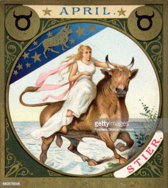 Taurus the Rape of Europa little picture dedicated to April from a series illustrated with zodiac signs and scenes from classical mythology Chromos...