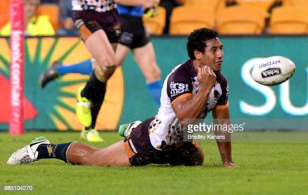 Tautau Moga of the Broncos celebrates scoring a try during the round 11 NRL match between the Brisbane Broncos and the Wests Tigers at Suncorp...
