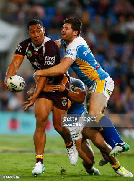 Tautau Moga of the broncos in action during the round 22 NRL match between the Gold Coast Titans and the Brisbane Broncos at Cbus Super Stadium on...