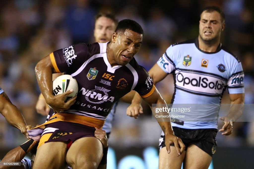 Tautau Moga of the Broncos is tackled during the round one NRL match between the Cronulla Sharks and the Brisbane Broncos at Southern Cross Group Stadium on March 2, 2017 in Sydney, Australia.