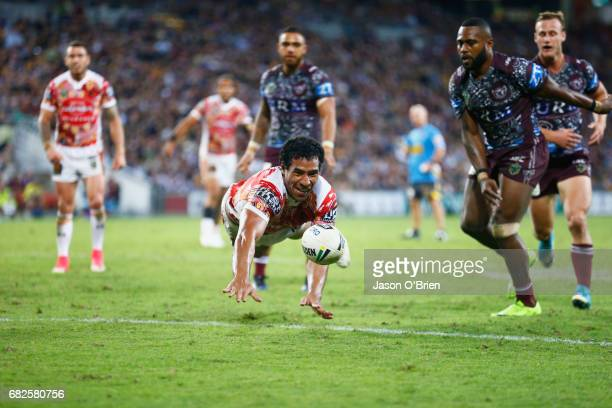 Tautau Moga of the Broncos spills the balll over the line during the round 10 NRL match between the Manly Sea Eagles and the Brisbane Broncos at...