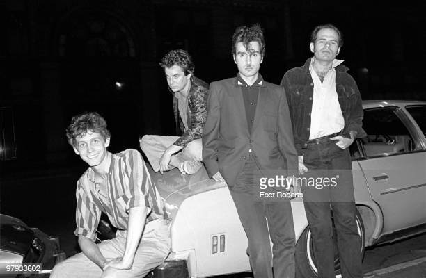 Tav Falco and Alex Chilton with The Panther Burns posed outside The Ritz in New York on August 09 1980