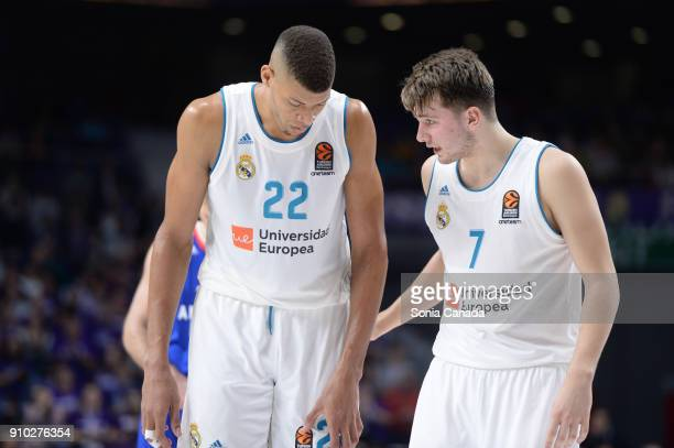Tavares #22 center of Real Madrid and Luka Doncic #7 guard of Real Madridduring the 2017/2018 Turkish Airlines Euroleague Regular Season Round 20...