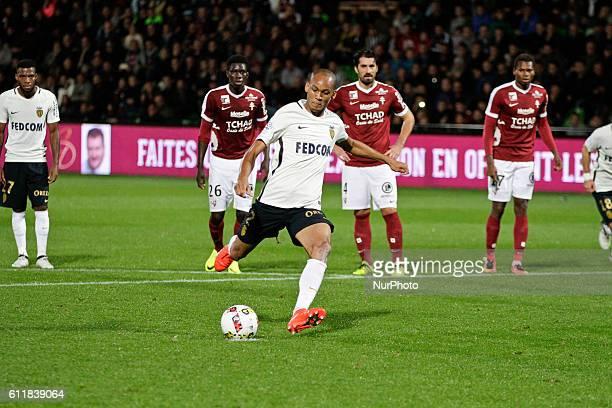 Tavares Fabio alias Fabinho of Monaco scores a goalpenalty during the Ligue 1 match between FC Metz and AS Monaco at Stade SaintSymphorien on October...