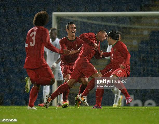 Tavares of Portugal celebrates scoring the winning goal during the Under 17 International match between England U17 and Portugal U17 at Proact...